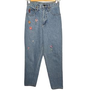 Vintage LEI Floral Embroidered Jeans HIGH Rise SZ5